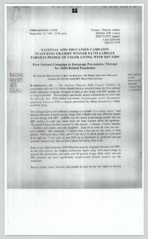 Primary view of object titled '[Copy of press release: National AIDS education campaign featuring Grammy winner Patti Labelle targets people of color living with HIV/AIDS]'.