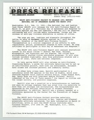 Primary view of object titled '[Press Release: NGLTF anti-violence project to release 1991 report]'.