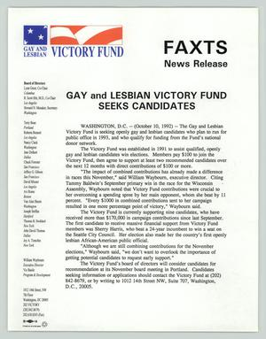 Primary view of object titled '[News release: Gays and Lesbians Victory Fund seeks candidates]'.