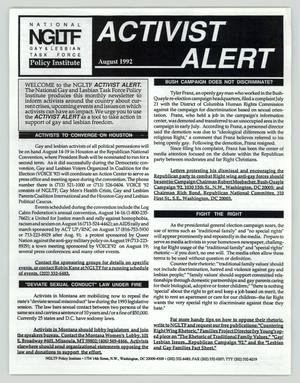 Primary view of object titled 'Activist Alert: August 1992'.