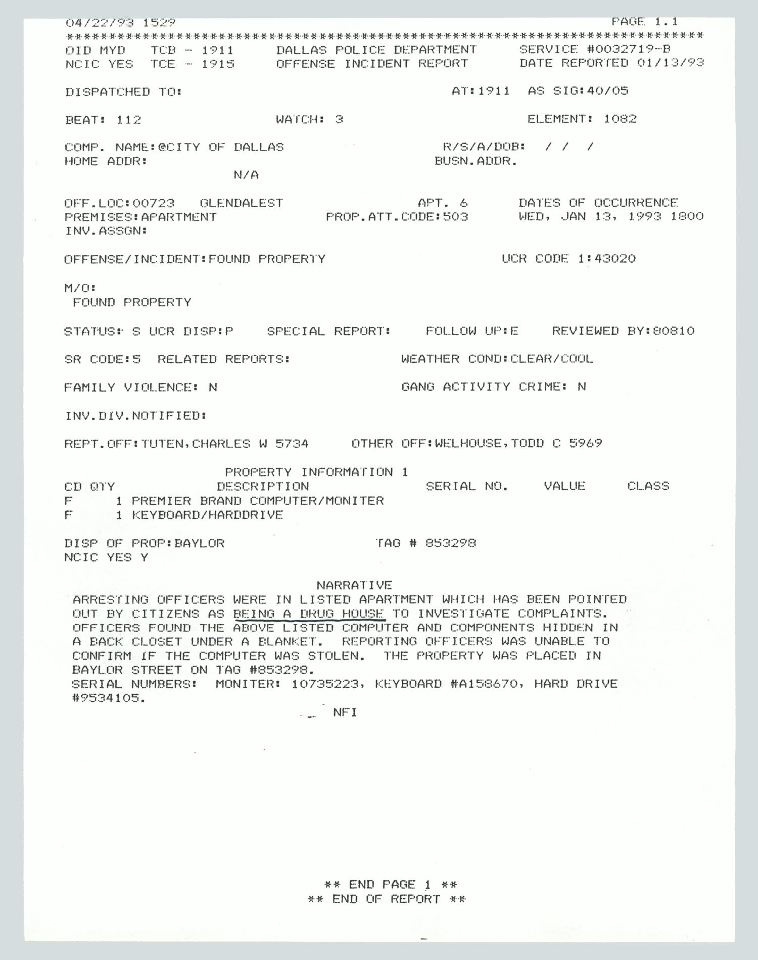 Police report: Found property at drug house] - Digital Library