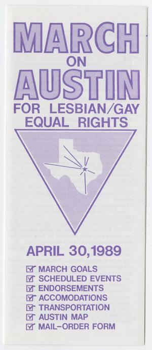 Primary view of object titled '[Brochure: March on Austin for Lesbian/Gay Equal Rights]'.