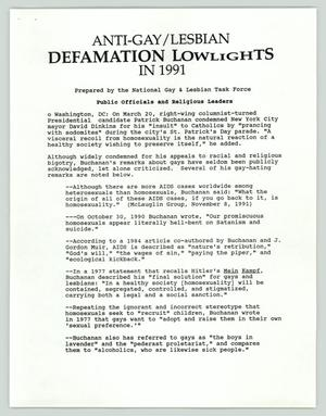 Primary view of object titled 'Anti Gay/Lesbian Defamation Lowlights in 1991'.