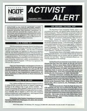 Primary view of object titled 'Activist Alert: September 1992'.