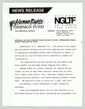 Primary view of object titled '[Press release: National gay and lesbian organizations support Congressman Frank, reject resignation calls]'.