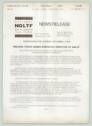 Primary view of object titled '[Press release: Melinda Paras named executive director of NGLTF]'.