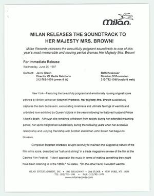 Primary view of object titled '[Press release and interviews: Milan releases the soundtrack to Her Majesty Mrs. Brown]'.