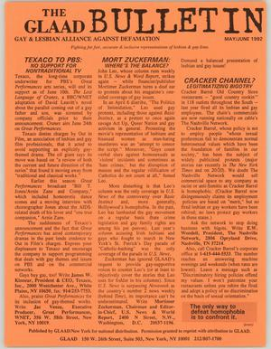 Primary view of object titled '[News bulletin: May/June 1992 GLAAD bulletin]'.