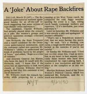 Primary view of object titled '[Newspaper clipping: A 'Joke' About Rape Backfires]'.