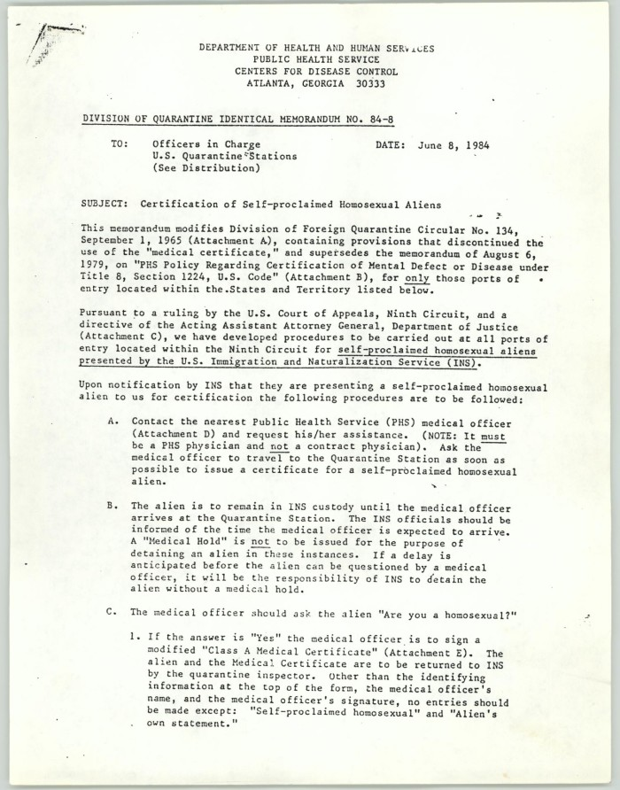 Copy Of Memorandum Certification Of Self Proclaimed Homosexual