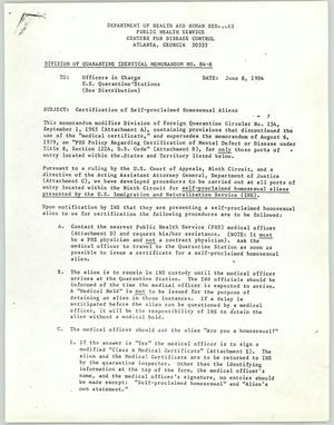 Primary view of object titled '[Copy of memorandum: Certification of self-proclaimed homosexual aliens]'.