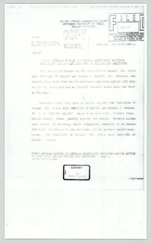 Primary view of object titled '[Copy: First amended motion to dismiss bankruptcy petition]'.