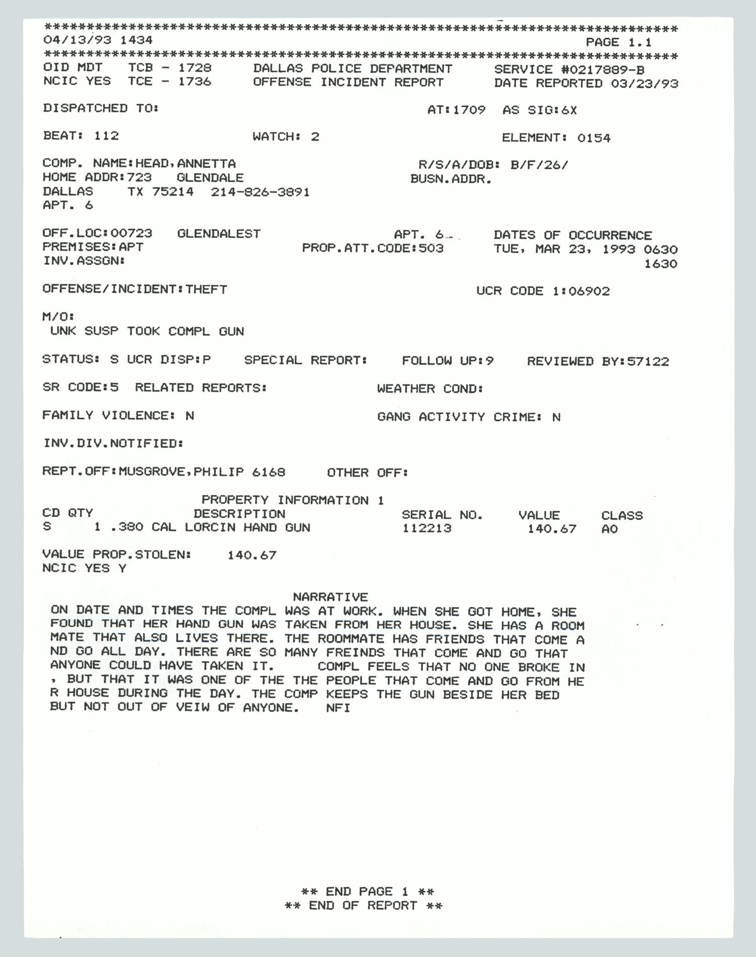 dallas police department offense incident report