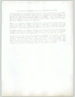 Primary view of object titled 'Mr. Perot's Statement on Gay and Lesbian Issues'.