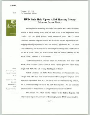 Primary view of object titled '[News release: HUD Ends Hold Up on AIDS Housing Money]'.
