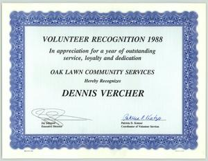 Primary view of object titled '[Volunteer recognition award 1988 for Dennis Vercher]'.
