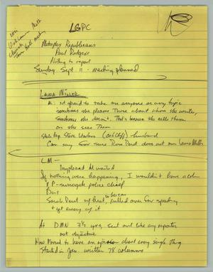 Primary view of object titled '[Handwritten notes: Lesbian/Gay Political Coalition 1988]'.