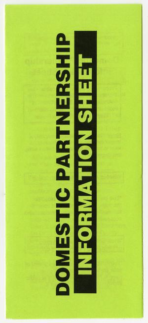 Primary view of object titled '[Brochure: Domestic partnership information sheet]'.
