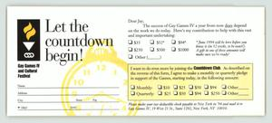 Primary view of object titled '[Donation card for the Gay Games IV Countdown Club]'.