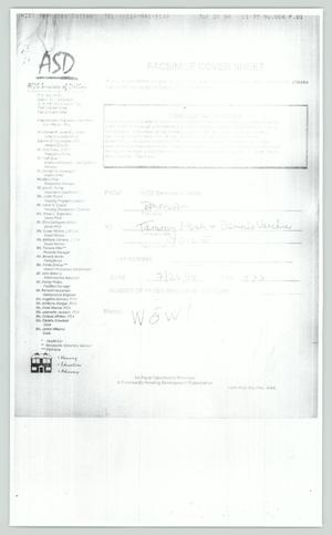 Primary view of object titled '[Fax: Mark William Nelson and proof of revenue tax form]'.