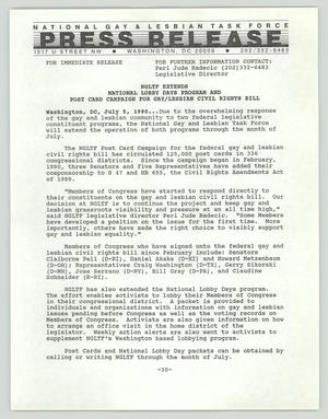Primary view of object titled '[Press release: NGLTF extends National Lobby Days program and post card campaign for gay/lesbian civil rights bill]'.