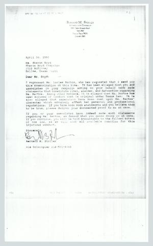 Primary view of object titled '[Letter: Benard M. Stoller Attorney and Counselor]'.