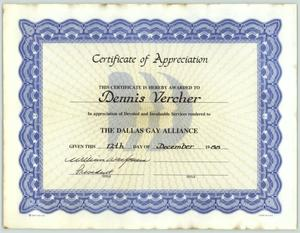 Primary view of object titled '[Certificate of appreciation for Dennis Vercher]'.