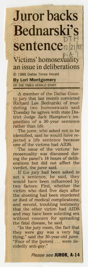 Primary view of object titled '[Newspaper Clipping: Juror backs Bednarski's sentence]'.
