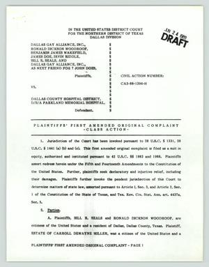 Primary view of object titled '[Draft: Plaintiff's first amended original complaint]'.