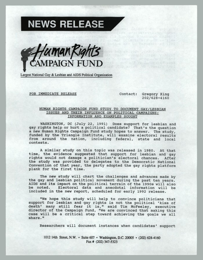 Press Release Human Rights Campaign Fund Study To Document Gay
