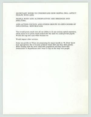 Primary view of object titled '[Letter: Remarks on organizations and political influence on AIDS patients]'.