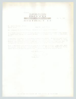 Primary view of object titled '[Letter: Sharon Boyd to Dennis Vercher]'.