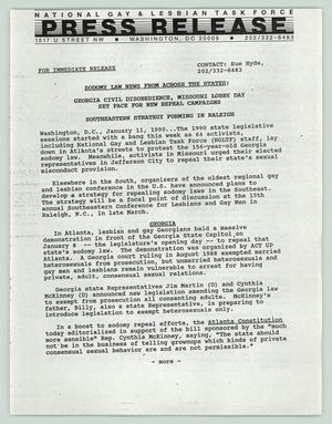 Primary view of object titled '[Press release: Sodomy law new from across the states]'.