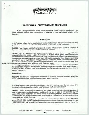 Primary view of object titled '[Presidential Questionnaire Responses from the Human Rights Campaign Fund]'.