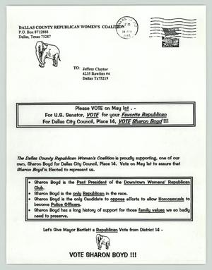 Primary view of object titled '[Copy of letter supporting Sharon Boyd for Dallas City Council elections]'.