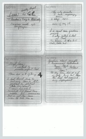Primary view of object titled '[Copy of handwritten notes: Loan to GC]'.