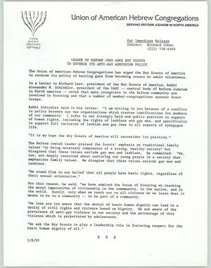 Primary view of object titled '[News release: Leader of reform Jews asks Boy Scouts to reverse its anti-gay admission policy]'.