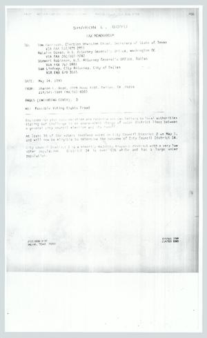 Primary view of object titled '[Fax: From Sharon L. Boyd to public officials]'.