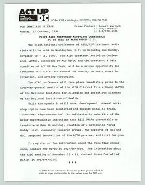 Primary view of object titled '[Press release: First AIDS treatment activists conference to be held in Washington, D.C.]'.