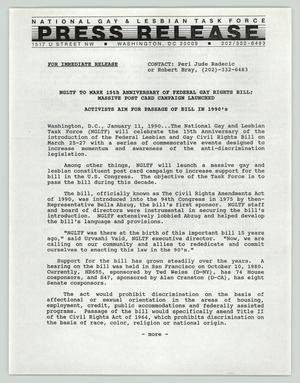 Primary view of object titled '[Press release: NGLTF to mark 15th anniversary of federal gay rights bill]'.