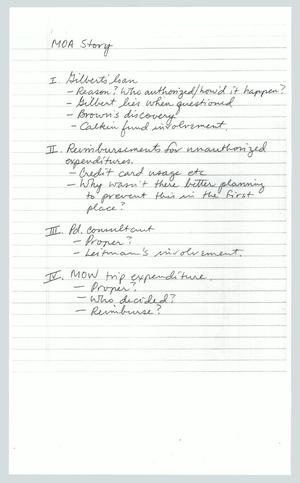 Primary view of object titled '[Copy of Handwritten Notes: MOA Story]'.