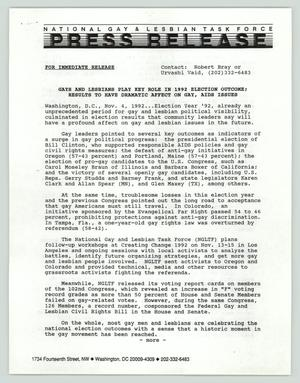 Primary view of object titled '[Press Release: Gays and lesbians play key role in 1992 election outcome]'.