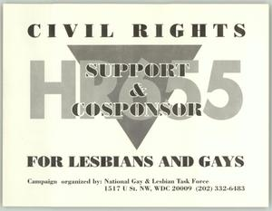 Primary view of object titled '[Postcard: Support and cosponsor civil rights for lesbian and gays]'.