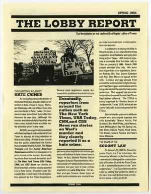 Primary view of object titled 'The Lobby Report, Spring 1994'.