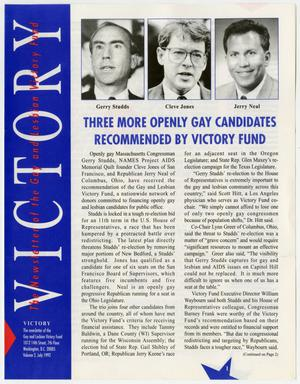 Primary view of object titled '[Three more openly gay candidates recommended by Victory Fund]'.