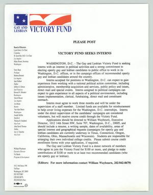 Primary view of object titled '[News release: Victory Fund seeks interns]'.