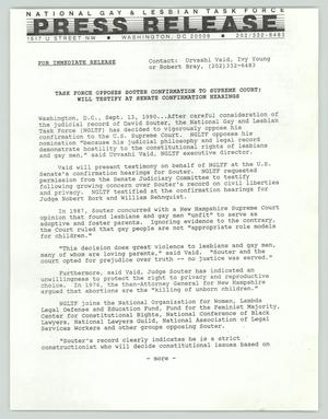 Primary view of object titled '[Press release: Task force opposes Souter confirmation to Supreme Court; will testify at Senate confirmation hearings]'.