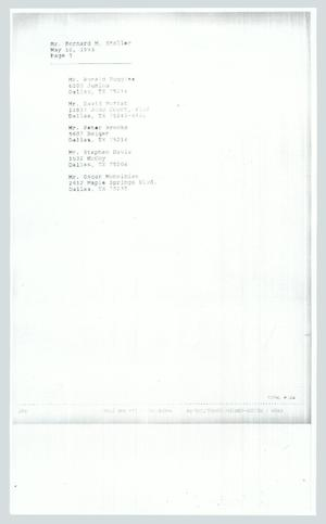 Primary view of object titled '[Contact information: Bernard Stoller]'.