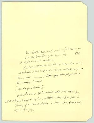 Primary view of object titled '[Handwritten notes: Team Dallas basketball]'.