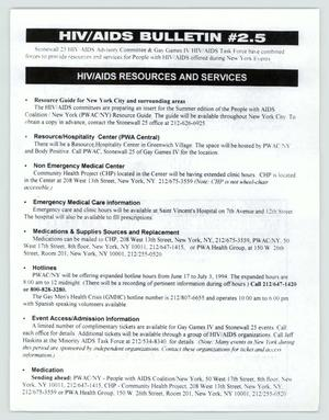 Primary view of object titled '[Bulletin: HIV/AIDS resources and services]'.